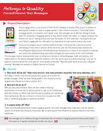 Pathways to Quality: Think Small ParentPowered Text Messages Cover Image