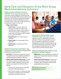 Early Care and Education Crisis Work Group - Summary