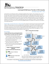 DHS, Licensed Child Care Trends in Minnesota Fact Sheet (2005–2015)